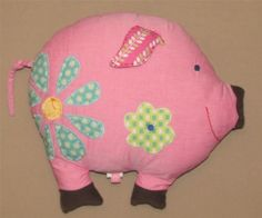 2008 Pottery Barn Teen Pink Blue Dot Flower Plush Pig Pillow Corduroy Feet Decor #PotteryBarnTeen