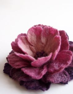Purple Shades Flower Brooch Hand Felted Jewelry by FeltFatal, $26.00