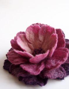 Purple Shades Flower Brooch Hand Felted Jewelry by FeltFatal, $26.00