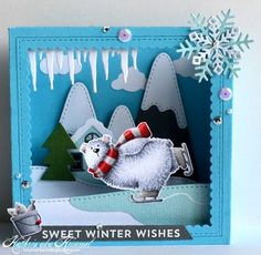 Kruemels craft blog: Stempeleinmaleins - MFT Polar Bear Pals 3D project 3d Cards, Pop Up Cards, Xmas Cards, Holiday Cards, Inexpensive Christmas Gifts, Christmas Card Crafts, Winter Karten, Karten Diy, Snowman Cards