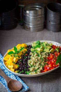 Vegan, Black Bean Quinoa Salad with Mango and Avocado on healthyseasonalrecipes.com by Katie Webster