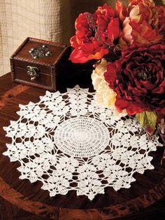 Crochet - Doily Patterns - Leafy Stems Doily