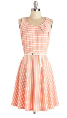 I love striped dresses. This one gets a bonus for the soft colors