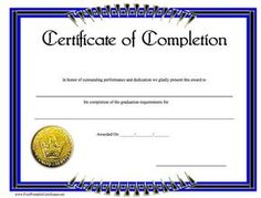 Free certificate of appreciation sample blank certificate of a blue and black bordered certificate of completion with a gold seal free yadclub Gallery