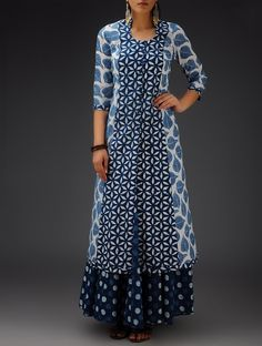 """ Buy Indigo-White Printed Bias-Cut Cotton Jacket Online at Jaypore.com """