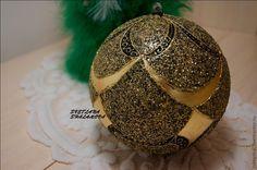 """Купить Интерьерный шар """"Золото на черном"""" - чёрный, золото, новогодний подарок, новогодний интерьер"""