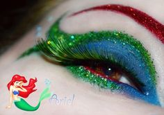 This is awesome! Colorful glitter and crystal accented eye make-up inspired by Disney's Ariel. Disney Eye Makeup, Ariel Makeup, Disney Inspired Makeup, Eye Makeup Art, Eye Art, Fairy Makeup, Mermaid Makeup, Looks Halloween, Halloween Makeup