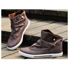 New Style Korean Fashion Buckles Design High-Tops Canvas Shoes For Man
