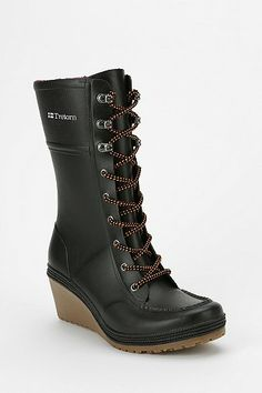 Tretorn Lace-Up Heeled Wedge Rain Boot