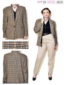 plaid blazer women button down jacket 80s clothing vintage wool ...