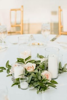 Pillar Candle and Greenery Centerpiece by Green Bee Floral Designs Green Centerpieces, Greenery Centerpiece, Candle Wedding Centerpieces, Eucalyptus Centerpiece, Bridal Shower Decorations, Wedding Decorations, Wedding Ideas, Floral Wedding, Wedding Flowers