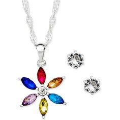 Charter Club Silver-Tone Crystal Daisy Pendant Necklace and Stud... ($28) ❤ liked on Polyvore featuring jewelry, earrings, silver, colorful earrings, multicolor earrings, crystal pendant necklace, multi color stud earrings and daisy stud earrings