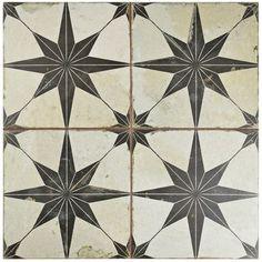 """EliteTile Galactic 17.63"""" X 17.63"""" Ceramic Field Tile in Black"""