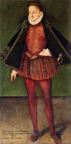 Švedijos, Lenkijos ir Lietuvos princo Žygimanto Vazos (1566–1632) portretas, apie 1585 m. Uficių galerija, Florencija. / Portrait of Sigismund Vasa (1566–1632), prince of Sweden, Poland and Grand Duchy of Lithuania, about 1585. Ufizzi Gallery, Florence.
