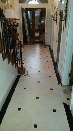 hallway flooring Amtico Flooring to Hall in South London Hall Tiles, Tiled Hallway, Entry Hallway, Entryway, Amtico Flooring, Hall Flooring, Kitchen Flooring, Flooring Ideas, Black And White Hallway