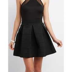 Charlotte Russe Pleated Bandage Skater Skirt ($23) ❤ liked on Polyvore featuring skirts, black, skater skirt, charlotte russe, circle skirt, panel skirt and charlotte russe skirts