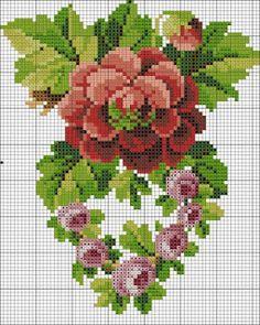 Ponto cruz: Flores Gráficos Ponto Cruz Cross Stitch Needles, Cross Stitch Rose, Cross Stitch Borders, Cross Stitch Flowers, Counted Cross Stitch Patterns, Cross Stitch Designs, Cross Stitching, Cross Stitch Embroidery, Hand Embroidery