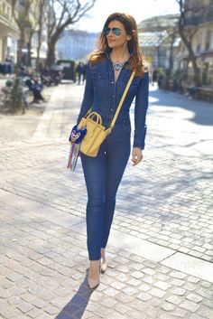 La Combi Jean by @larmoiredeclaire Châtaigner - Collier bracelets et Zoulala by @shouroukjewelry  #jewelry - Sac Céline  - #sreetstyle #ootd #outfit #outfitoftheday #Style #styleblogger #denim #jumpsuit #chic #stylish #fashionista #ootn #Fashion #style #bag #jewelry #styleblogger #sofrenchbynaty