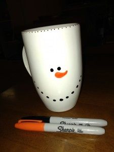 snowman diy mug