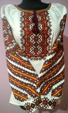 You can order any size XS - Embroidery machine stitch! Embroidery On Clothes, Baby Vest, Folk Costume, Embroidered Blouse, Plaid Scarf, Machine Embroidery, Embroidery Designs, Cross Stitch, Eastern Europe