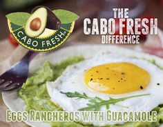 A chunky Ranchero sauce made with juicy plum tomatoes, onion, jalapeño and garlic, spooned over fried eggs and served on warm corn tortillas layered with your choice of Cabo Fresh Guacamole.