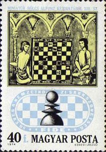 Stamp: Chess Players from Century Manuscript (Hungary) Anniversary of the International Chess Federation) Mi:HU 2888 Chess Players, 15th Century, Mail Art, 50th Anniversary, Postage Stamps, Vintage World Maps, History, Chess Sets, Posters