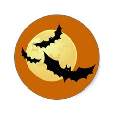 Bats and Moon Cute Halloween Stickers. Three cute bats flying in front of a full