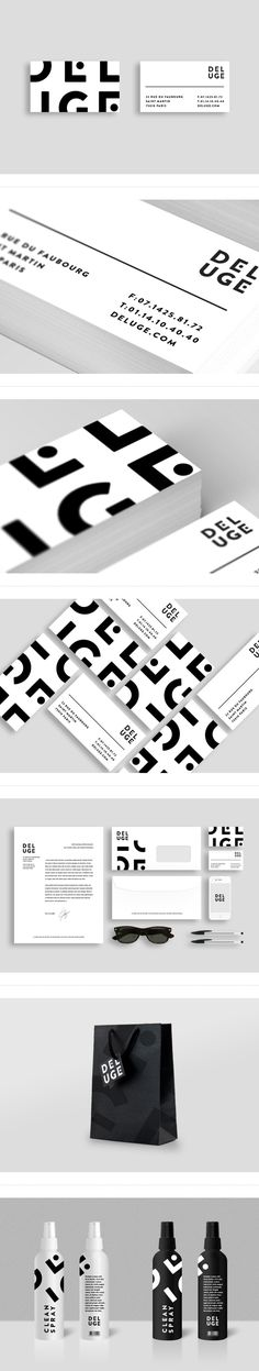"brand typo and design ""D E L U G E"" in black and white 