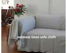 Large Sofa throw covers rectangle tassel ivory-couch   Etsy Linen Couch, Slipcover Sofa, Slipcovers, Large Throws For Sofas, Large Sofa, Sofa Throw Cover, Couch Covers, Recover Couch, Sofa Cloth