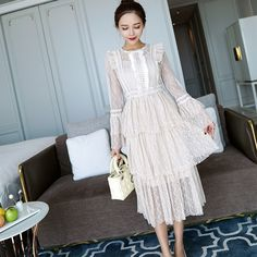 2018 Spring Autumn New Long Sleeve Vintage Dress Lace Elegant Beige Lace Dress Flare Sleeve O Neck Party Dress Embroidery-in Dresses from Women's Clothing & Accessories on Aliexpress.com | Alibaba Group