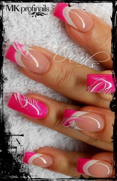 I Love Pink nails in the summer Sexy Nails, Hot Nails, Fancy Nails, Pink Nails, Glitter Nails, Hair And Nails, Silver Nails, Fabulous Nails, Gorgeous Nails