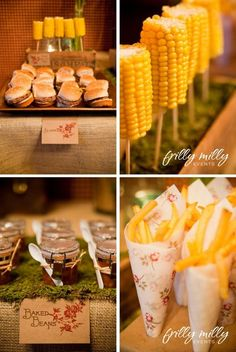 Loved this idea of the corn on a wooden stick....keep the corn on a warmer/steamer with butter.