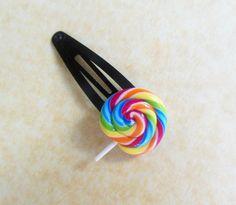 raibow swirl lollipop hair pin snap clip by ScrumptiousDoodle, $8.00