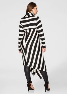 Striped Oversized Cowl Sweater Dress - Ashley Stewart