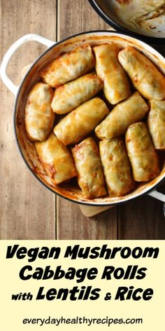 This vegan cabbage rolls recipe is super easy to make and packed full of flavour. These cabbage rolls contain a handful of easy to prepare ingredients which together create a delicious flavour combination. Vegetarian Cabbage Rolls, Tasty Vegetarian Recipes, Vegan Dinner Recipes, Vegan Dinners, Whole Food Recipes, Cooking Recipes, Healthy Recipes, Vegan Cabbage Recipes, Pastry Recipes