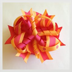 Hot pink & light orange hair bow by WowHairBows on Etsy, $5.75