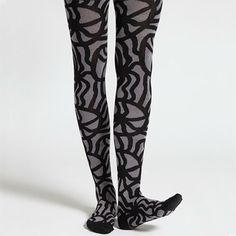 Maija Isola's 1961 Joonas patterns transforms your legs into walking pieces of art. Marimekko Jau Black/Grey Tights
