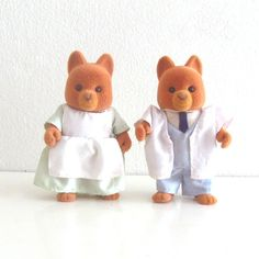 2 Vintage Maple Town 80s Toy Figures Flocked Dogs Doctor and Nurse via Etsy