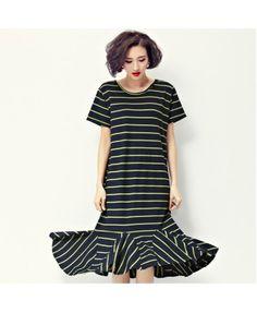 Green striped midi dress A7189