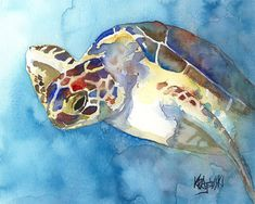 Sea Turtle Art Print of Original Watercolor by dogartstudio