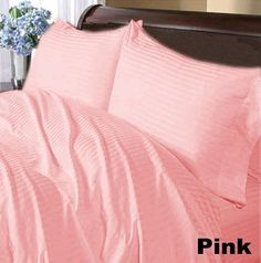 300 TC Brand New 100% Egyptian cotton 2 piece Superfine Pillow Covers 300 THREADS Olympic Queen Pink Stripe by pearlbedding. $37.99. Experience true luxury when you sleep on these Eqyptian cotton Pillowcases.. THREAD COUNT/MATERIAL: 300TC , 100% Egyptian Cotton. This is 2PILLOWCASES only. Excellent value for money.. Machine wash and tumble dry for easy care. No Ironing Necessary.. Extra Comfortable and most Contemporary Pillowcases.. Super Soft Pillowcases with super soft c...