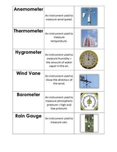 Learning about the weather? Then, have your students use these weather instrument matching cards.before, during, or after your unit-can be a station activity to put in their notebook Teaching Weather, Weather Science, Weather Unit, Weather Activities, Weather And Climate, Weather Crafts, Science Resources, Science Lessons, Teaching Science