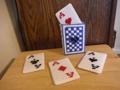 15% of Sale Card Coaster Holder Set Playing by ShanaysCreation