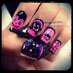 Halloween nails  | See more nail designs at http://www.nailsss.com/acrylic-nails-ideas/2/