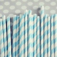 Striped Paper Straws: Powder Blue $4 for 20