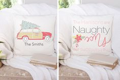 Check out these personalized square Christmas pillowcases. Pillow covers are great for holiday home decor. Add one of these cute designs to your home for only $9.99.