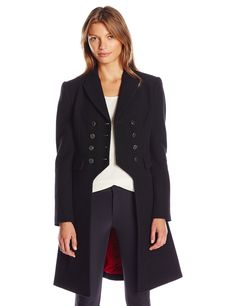 Rachel Zoe Women's Alicia Military Coat, Black, 8. Military-inspired coat in wool blend featuring double-breasted buttons and front flap pockets. Peak lapel. Contrast lining.