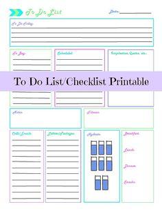 Daily To Do List/ Checklist Printable-INSTANT DOWNLOAD; printable; to do list; shopping list; daily checklist; work tool; work organizer