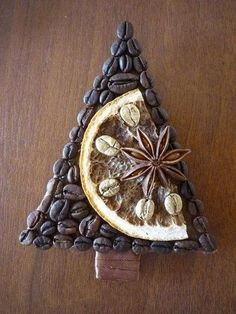 DIY Coffee Christmas Trees - magnets on the fridge