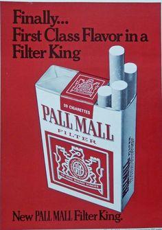 Pall Mall Cigarettes Rare 1970 s print ad Color Illustration first class magazine art